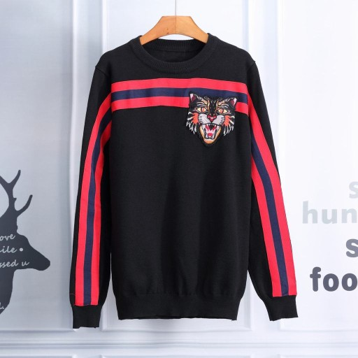 Foreign trade new autumn and winter long-sleeved sweater men's round-collar color splicing cashmere sweater shirt