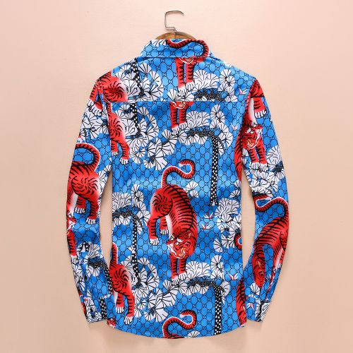 Spring and autumn new long-sleeved shirt male cotton lapel tiger digital printing casual shirt