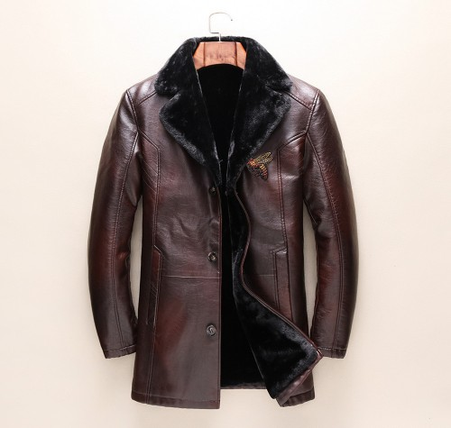 New autumn and winter men's long coat of leather one bee pattern foreign trade and leisure