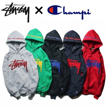 Japanese street skateboarding tide brand joint towel embroidered letters hoodie men and women hip-hop couple plus velvet sweater coat
