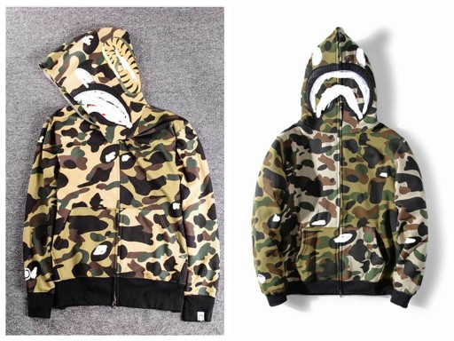 Original tide brand Hello shark camouflage mosaic plus velvet sweater men and women zipper cardigan coat new autumn and winter