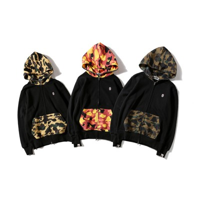 2017 new foreign trade men tide brand men's casual embroidery camouflage hat and velvet casual sweater jacket